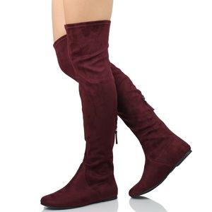Vino Rear Zipper Tassel Over The Knee Flat Boot